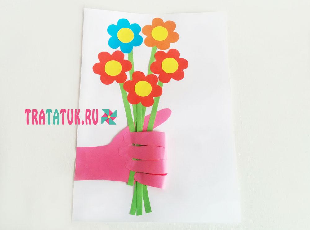 Аппликация из ладошек - букет для мамы