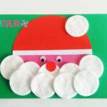 Дед Мороз из ватных дисков: аппликация