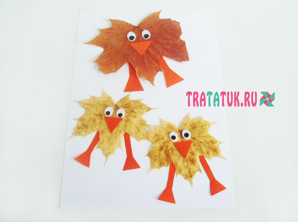 Птицы с кленовых листьев