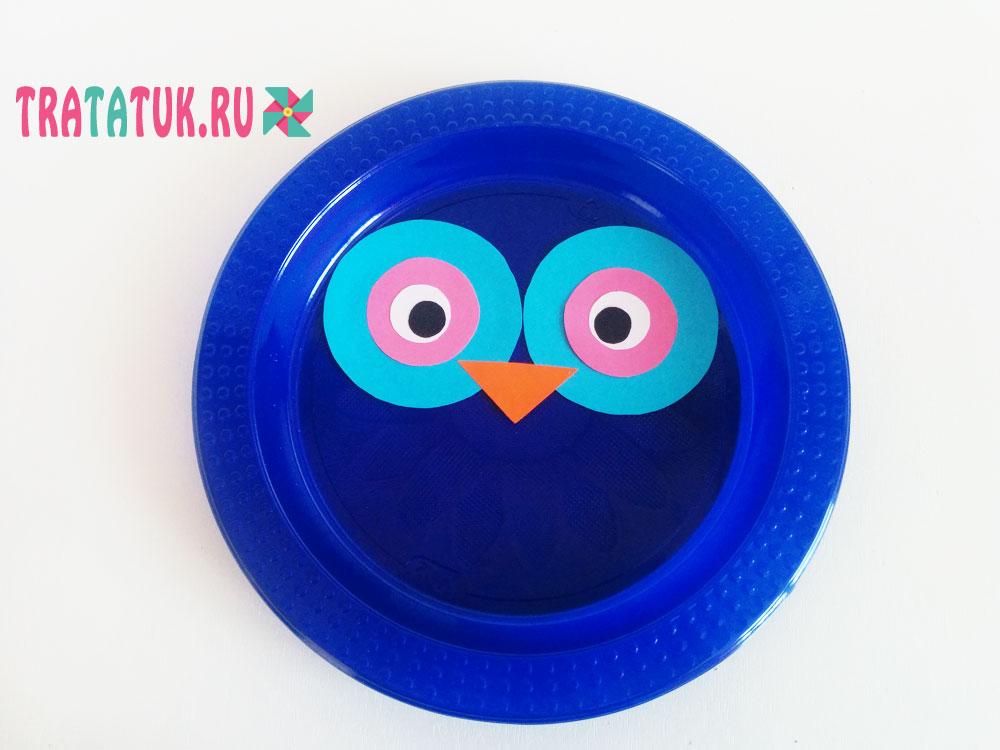 Сова из пластиковой тарелки