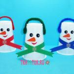 Снеговик из пластикового стаканчика: поделка для детей