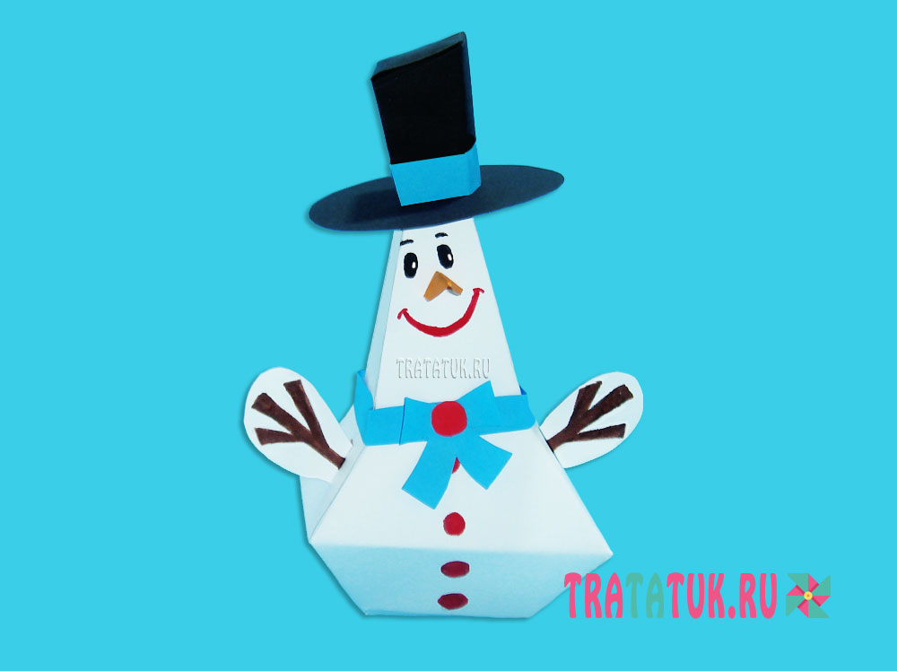Снеговик из бумаги по шаблону
