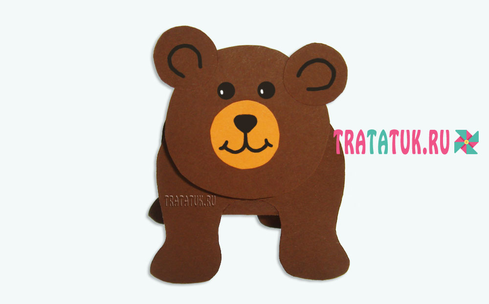 Медведь из бумаги гармошкой