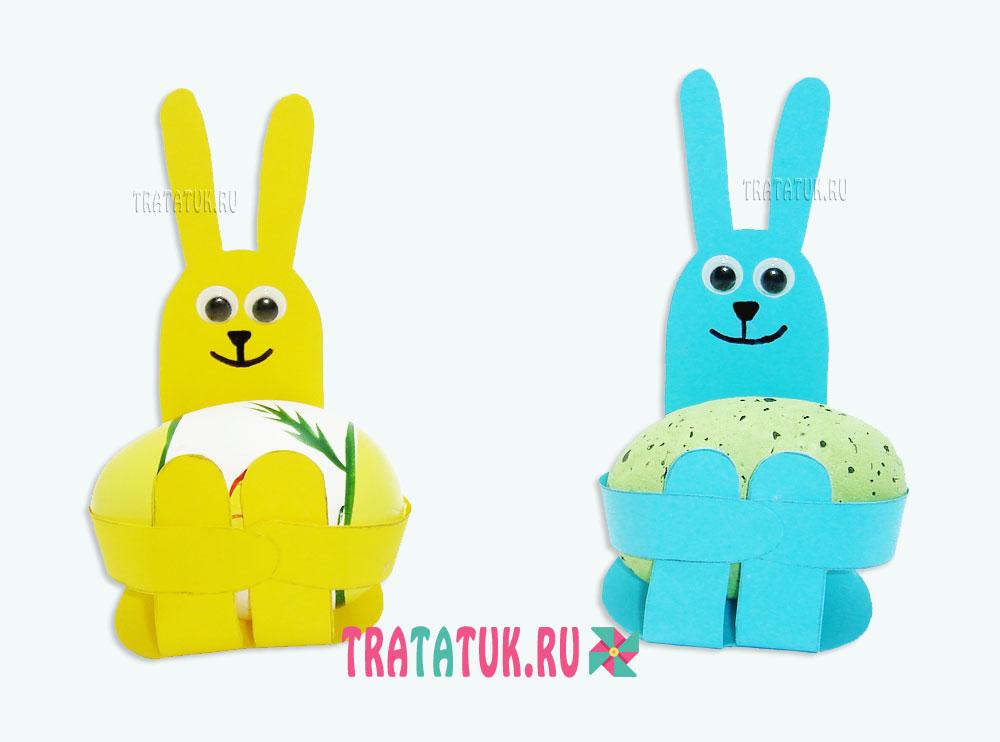 Пасхальный кролик из бумаги в виде корзинки
