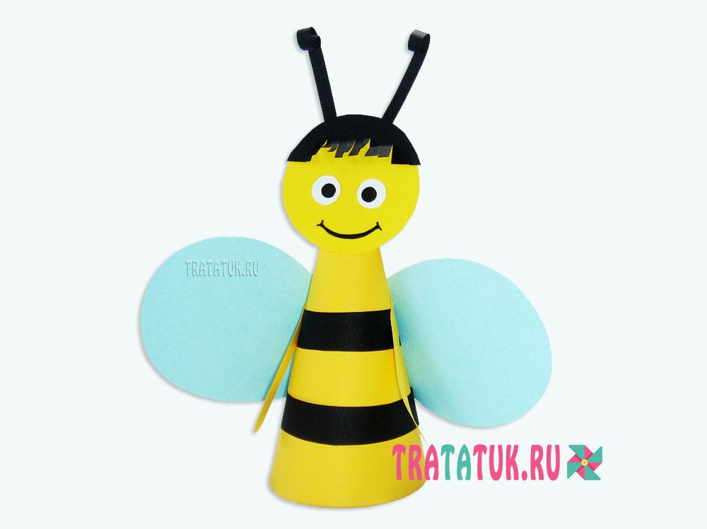 Пчела из бумажного конуса