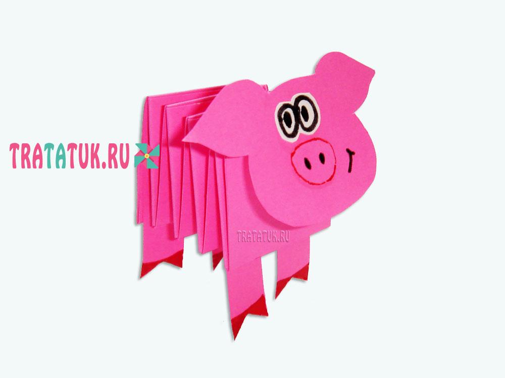 svinya-iz-bumagi-garmoshkoy1 Свинки из бумаги своими руками пошагово с фото. Шаблоны