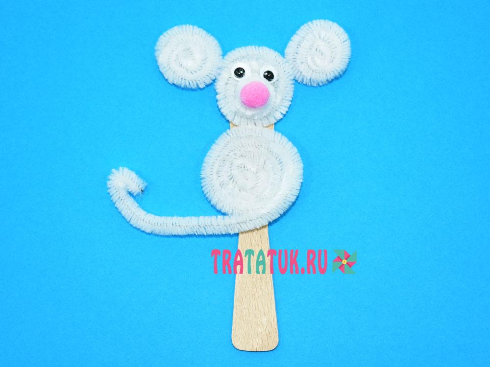 мышка из синельной проволоки