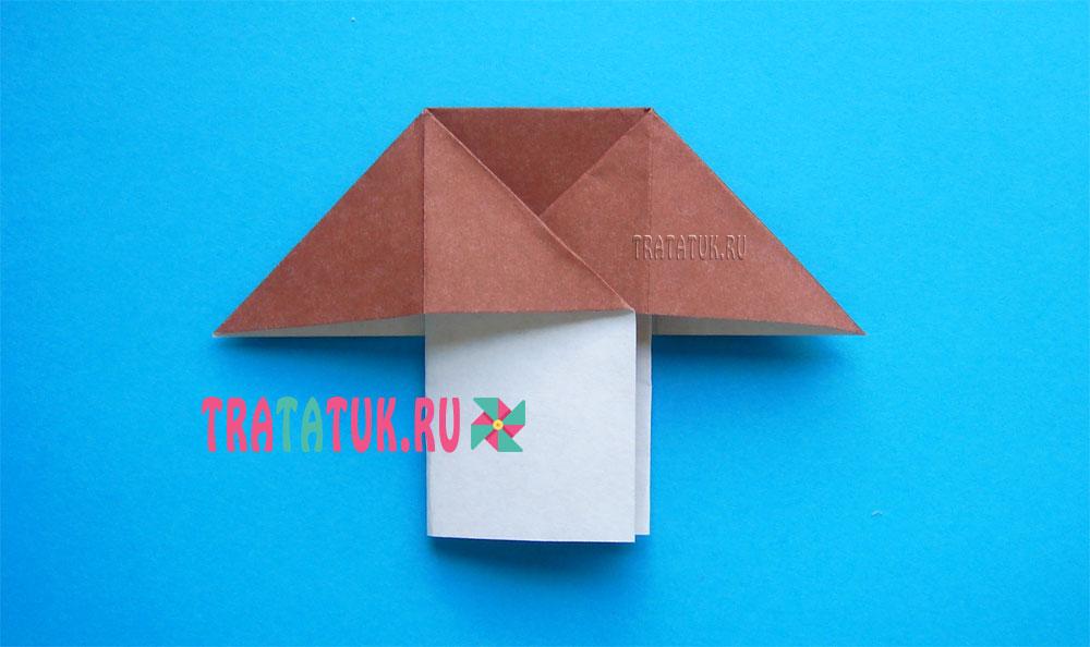 Оригами гриб боровик