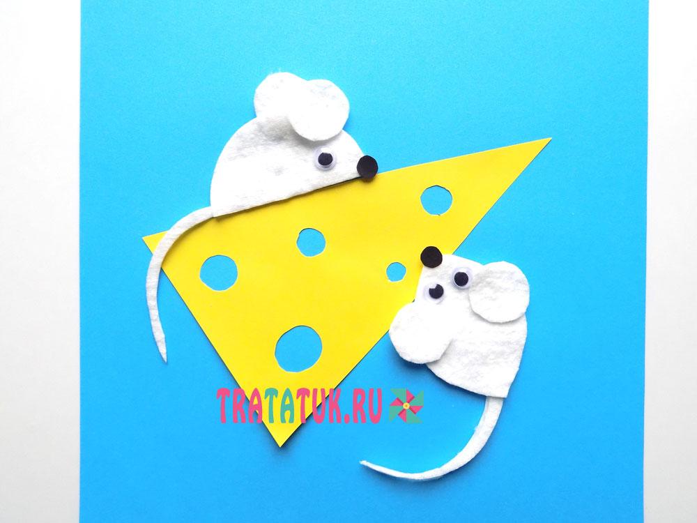 Мышки из ватных дисков