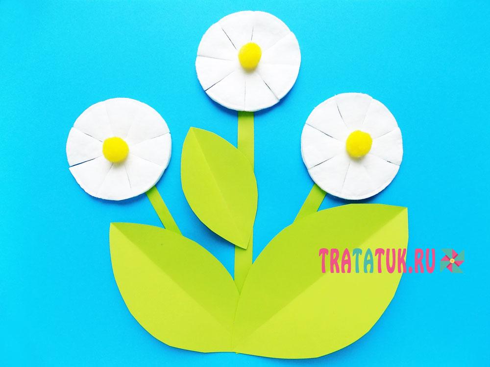 Аппликация «Цветы из ватных дисков»