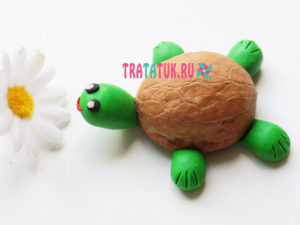 Черепаха из скорлупы грецкого ореха и пластилина