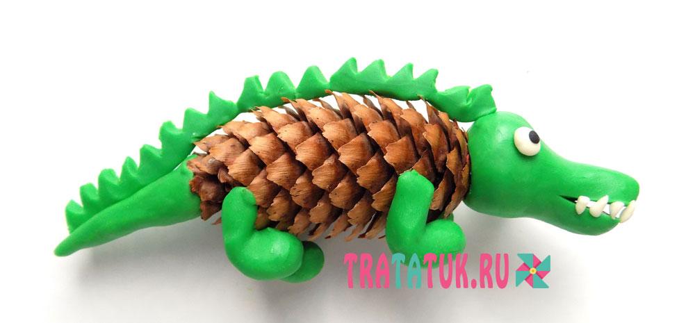 крокодил из шишки и пластилина