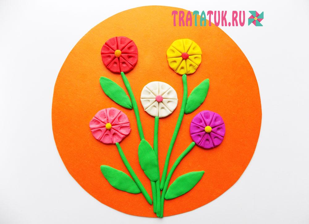 Аппликация из пластилина: цветы