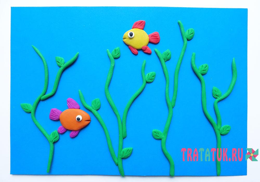 Аппликация из пластилина: рыбки