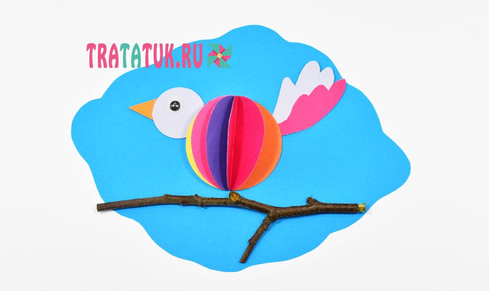 Весенняя аппликация «Птица на ветке»