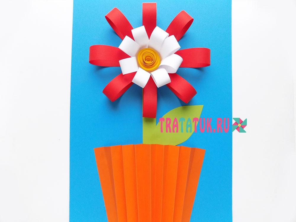 аппликация цветок в вазе