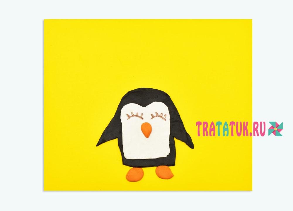 Аппликация из пластилина «Пингвин с шариками»