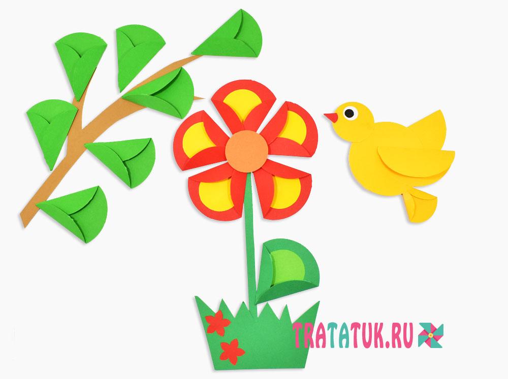 Цветок из кругов цветной бумаги