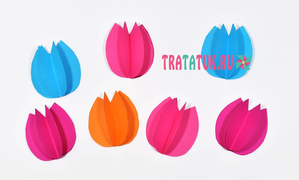Корзинка с тюльпанами из бумаги