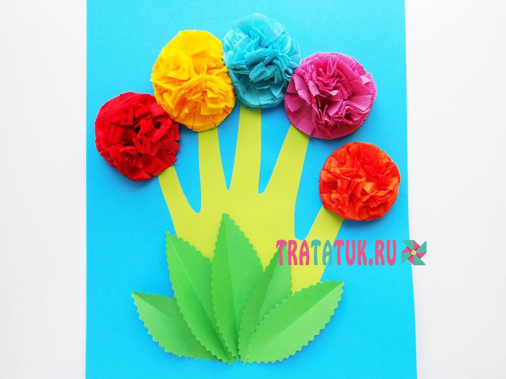 Ладошка с цветами из салфеток