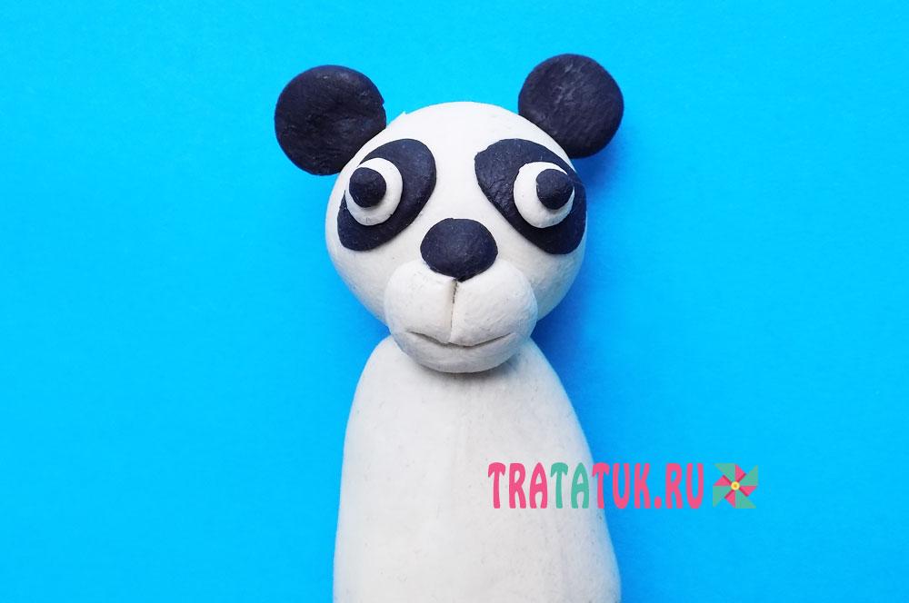 Панда из пластилина